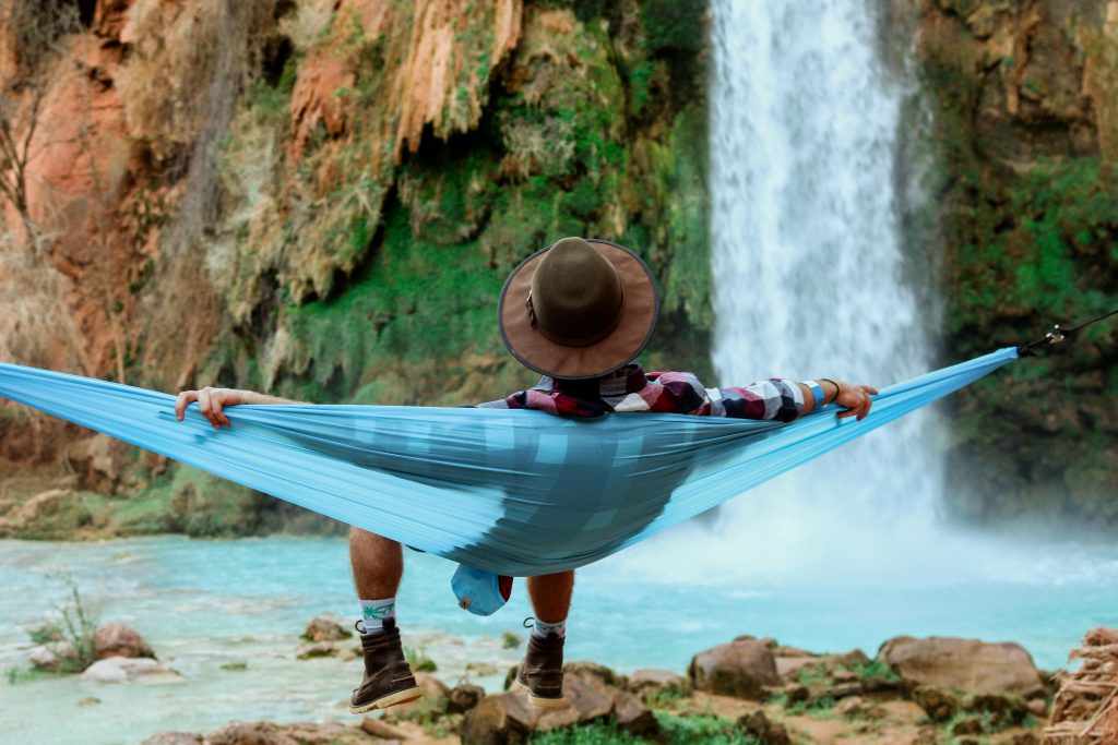 man in a hammock resting